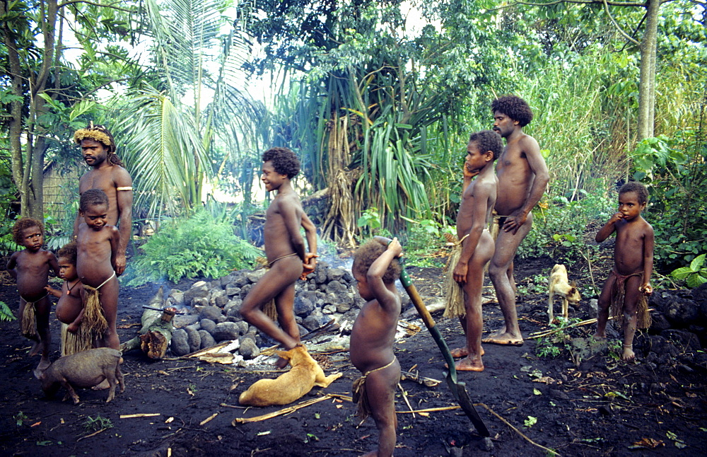 Village life, Earth oven, Yakel Village, Tanna, Vanuatu, South Pacific
