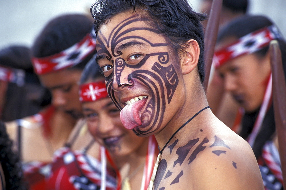 Yound adult Maori at Haka-Rotorua, North Island, New Zealand - 1113-64417