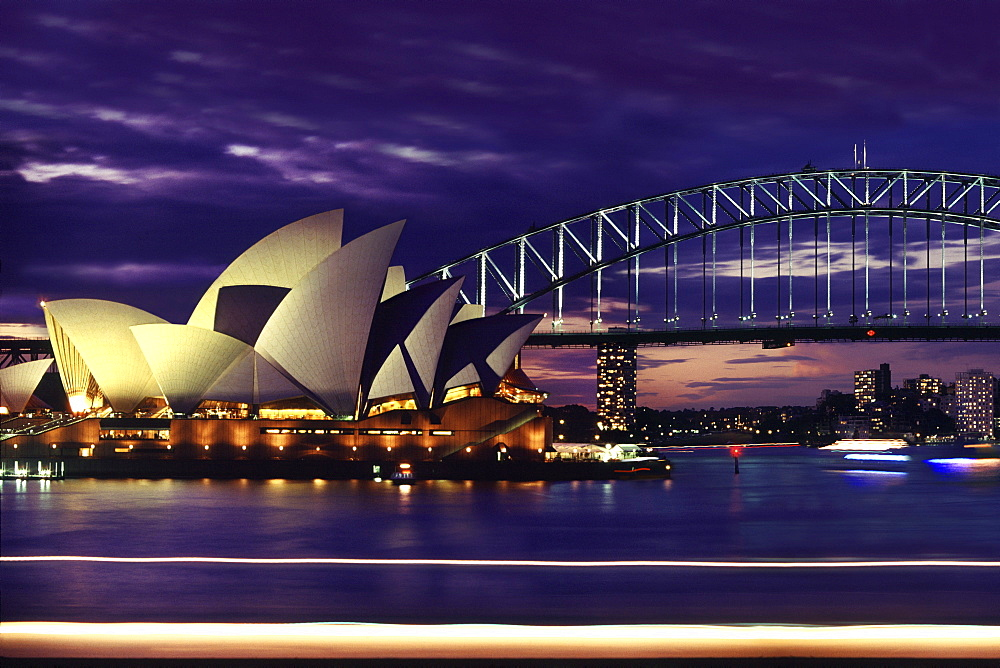 Darling Harbour, Sydney opera and Harbour Bridge, Sydney, New South Wales, Australia