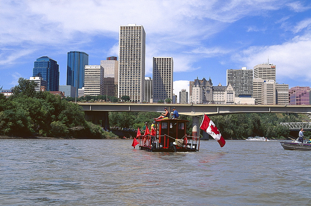 Float race, Klondike Days, Saskatchewan River, Edmonton, Alberta, Canada, North America, America
