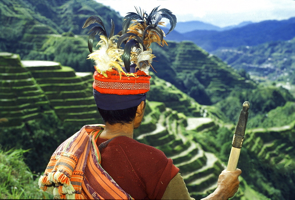 Ifugao warrior, rice terraces, Banaue, Luzon Island, Philippines