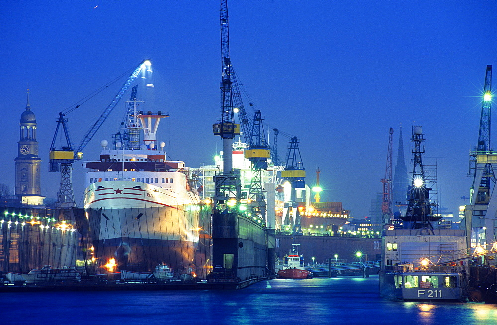 Europe, Germany, Hamburg, Blohm & Voss shipyard and dry-dock