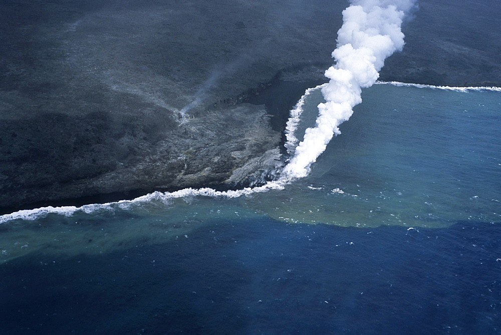 Aerial Photo of Lava Flow, Kilauea Lava Flow, Volcanoes National Park, Big Island Hawaii, Hawaii, USA