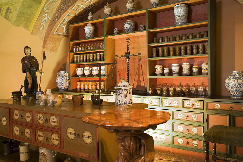 Golden Eagle Pharmacy Museum, View inside the Golden Eagle Pharmacy Museum on Castle Hill, Buda, Budapest, Hungary