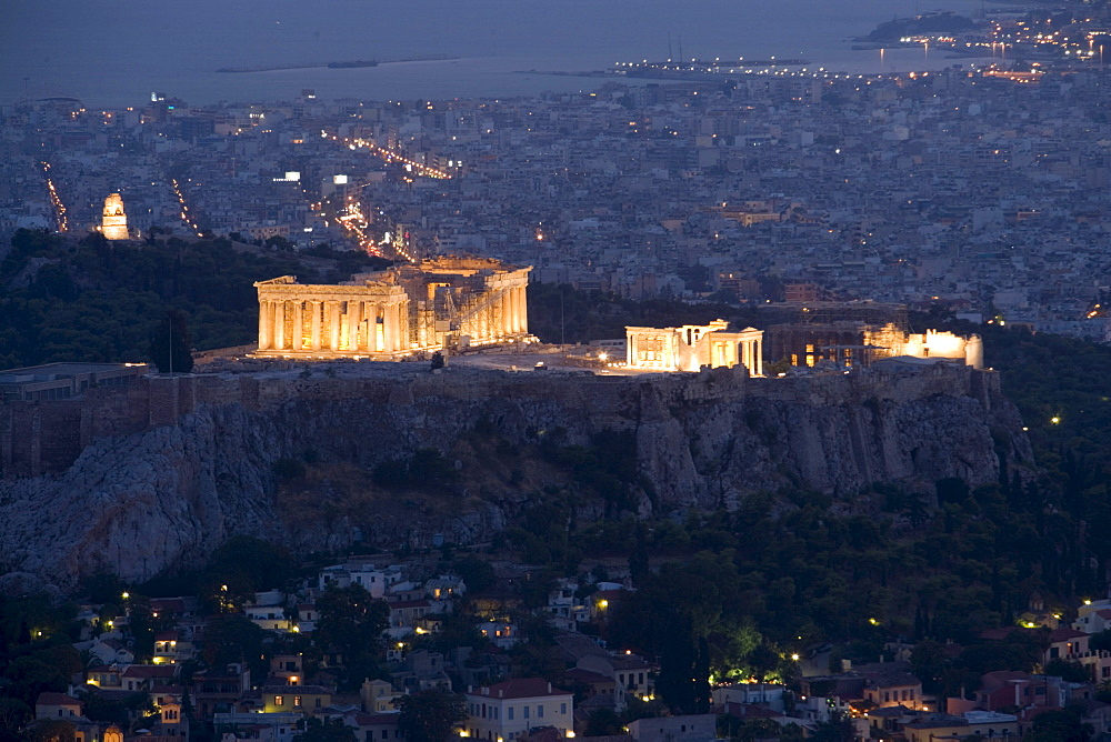 View over Plaka to the illuminated Acropolis at night, Athens, Athens-Piraeus, Greece