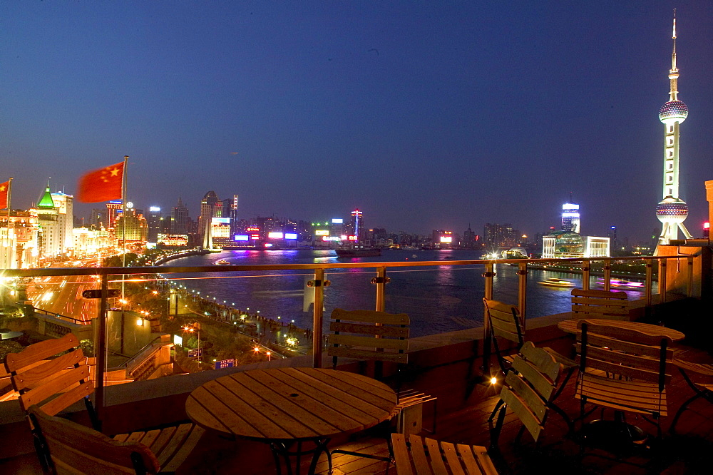 Huangpu River at night, View from roof terrace, Three on the Bund, national flag