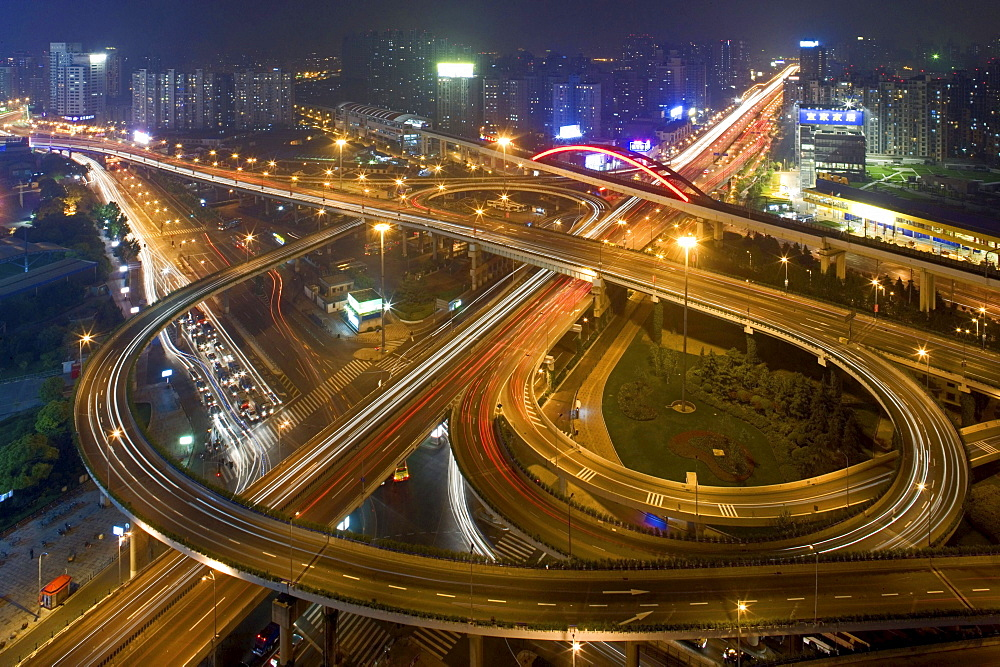 elevated highway system, Nanpu Bridge Interchange, Shanghai - 1113-67644