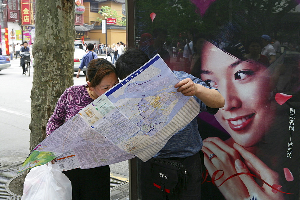 chinese tourists, chinese tourists, city map, pedestrian, people