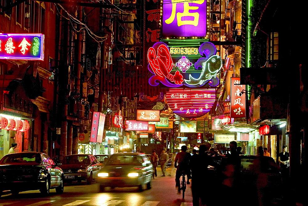 Hongkou quarter Shanghai, Zhapu Lu, street, bicycle, bicycle, street, Restaurant-Strasse, restaurants, brothels, shops - 1113-68036