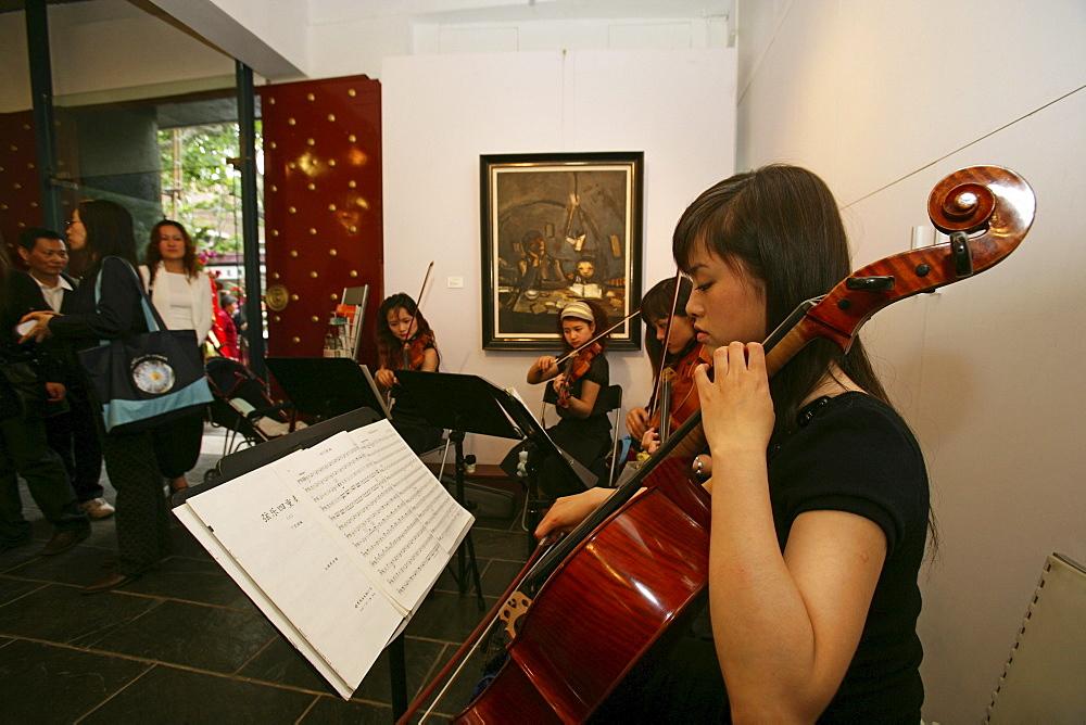 Vernissage Art Gallery, Paintings of painter Duan Zhengqu, violin