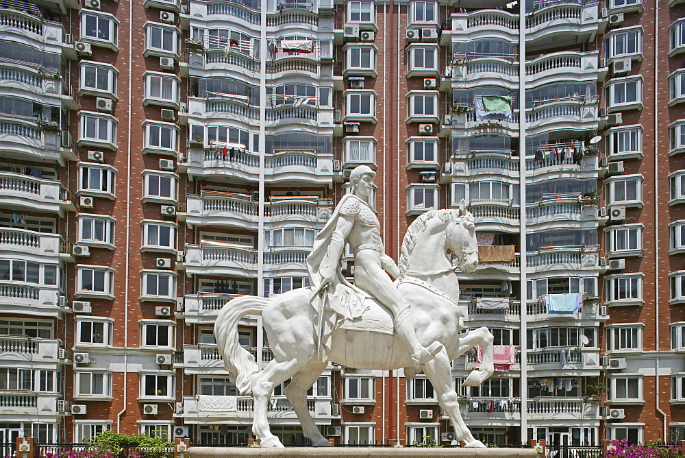apartment towers, living in Shanghai, highrise apartments, Yangpu district, windows, facade, horse statue, knight