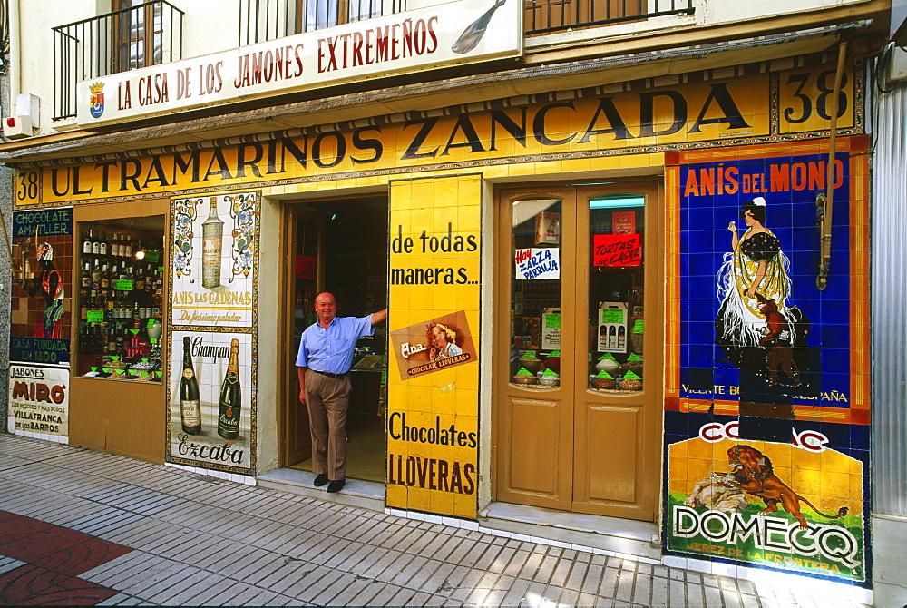 Delicatessen and Ham Shop, Merida, Province Badajoz, Extremadura, Spain