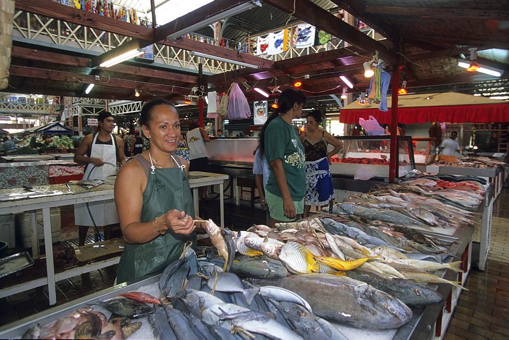 Selling Market Fish, Papeete Municipal Market, Papeete, Tahiti, French Polynesia