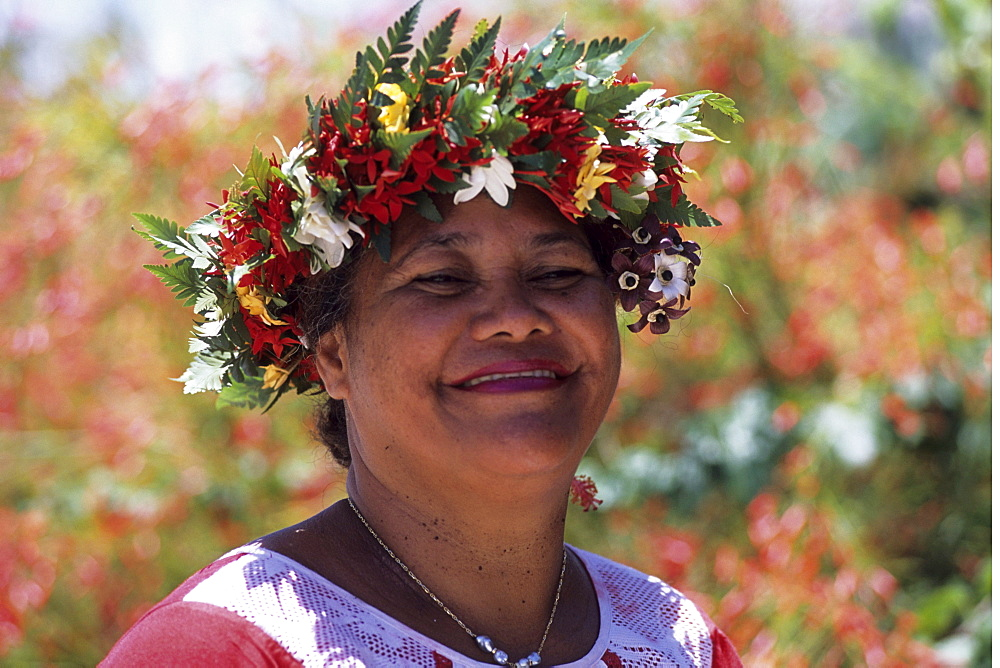 Polynesian Woman with Flower Headdress, Raiatea, French Polynesia