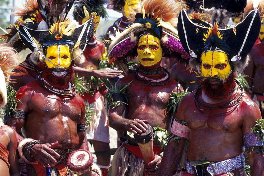Papua New Guineans of Huli Tribe, Port Moresby Cultural Festival, Port Moresby, Papua New Guinea