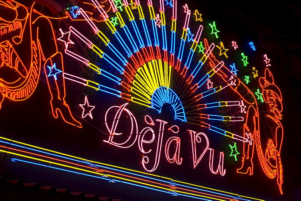 "Illuminated advertising of the Go-go bar ""DeJa Vu"", Soi Cowboy, a red-light district, Th Sukhumvit, Bangkok, Thailand"