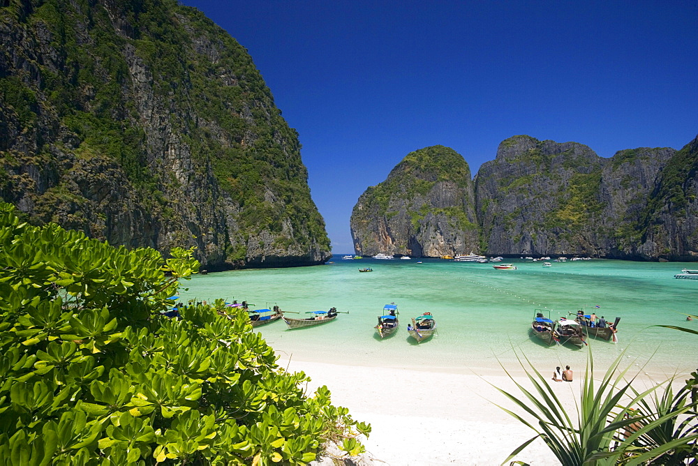 "View over Maya Bay, a beautiful scenic lagoon, famous for the Hollywood film ""The Beach"" with anchored boats, Ko Phi-Phi Leh, Ko Phi-Phi Islands, Krabi, Thailand, after the tsunami"