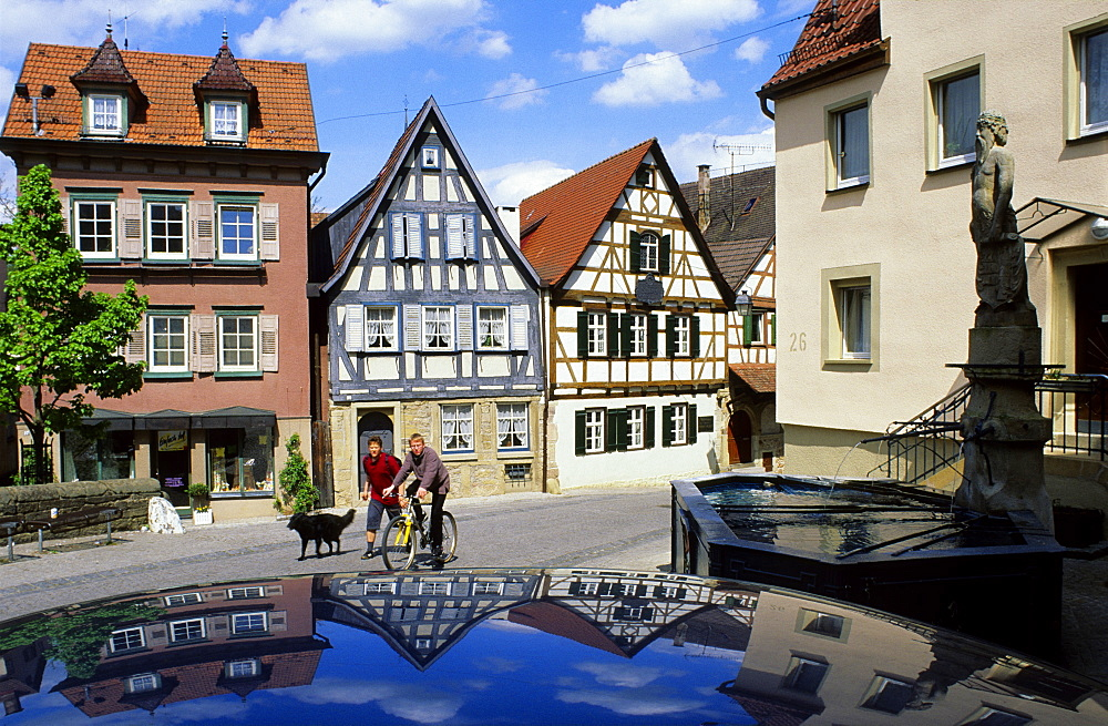 Europe, Germany, Baden-Wuerttemberg, Marbach, historic town centre with Friedrich Schiller's birthplace