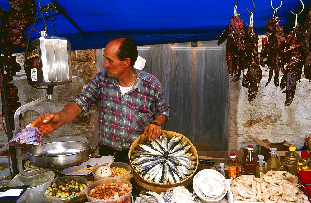 Market Stall selling fish, Market Day, Sineu, Mallorca, Spain