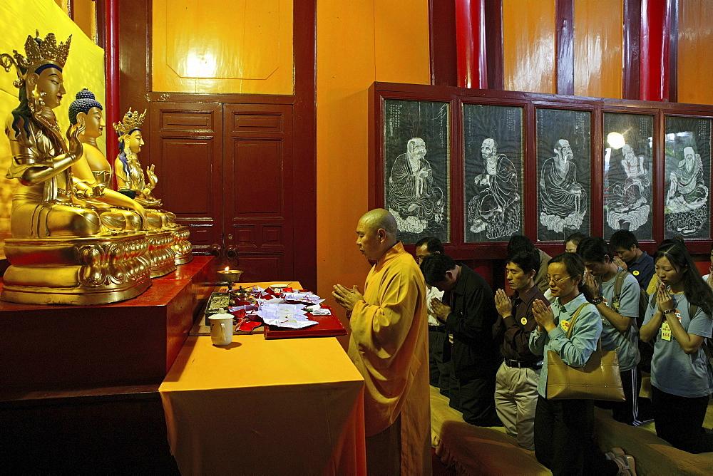 Prayer, pilgrims, Wannian monastery and temple, World Heritage Site, UNESCO, China, Asia