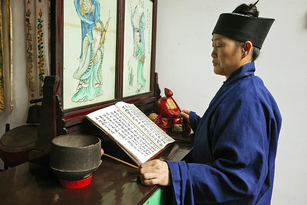 prayer ceremony, Nunnery Huangting, Heng Shan south, Hunan province, Hengshan, Mount Heng, China, Asia - 1113-71061