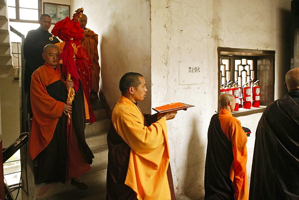 abbot with monks, Nantai temple, Heng Shan south, Hunan province, Hengshan, Mount Heng, China - 1113-71091