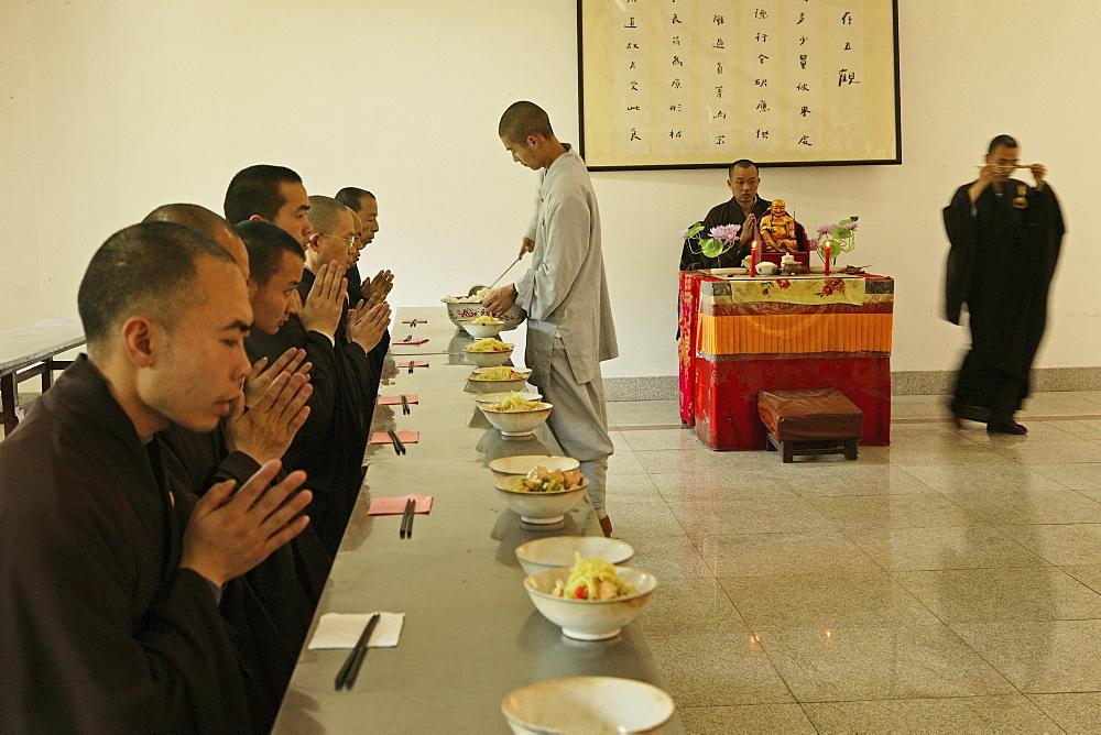 dining hall, Buddhist College, Ganlu Temple, Jiuhua Shan Village, Jiuhuashan, Mount Jiuhua, mountain of nine flowers, Jiuhua Shan, Anhui province, China, Asia - 1113-71329