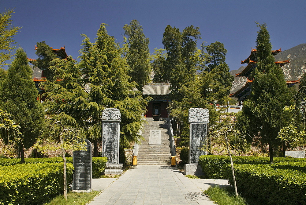 Fa Wang Buddhist monastery main entrance through the garden, Taoist Buddhist mountain, Song Shan, Henan province, China, Asia