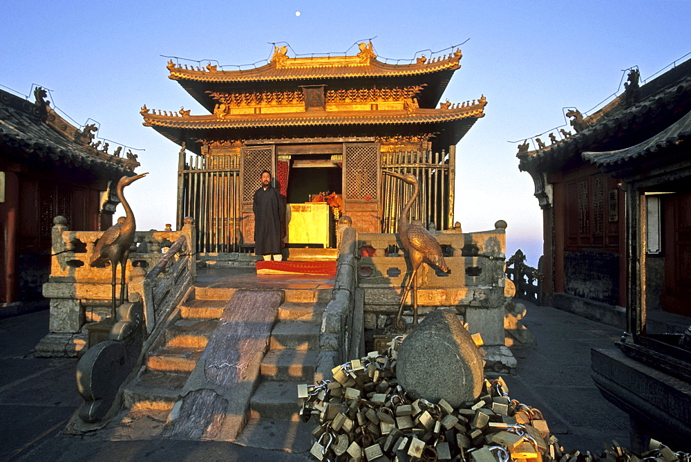Sunrise at the Golden Hall, Jindian Gong, Golden Palace Temple, protected against lightning strikes by an iron cage, summit 1613 metres high, Mount Wudang, Wudang Shan, Hubei province, UNESCO world cultural heritage site, birthplace of Tai chi, China