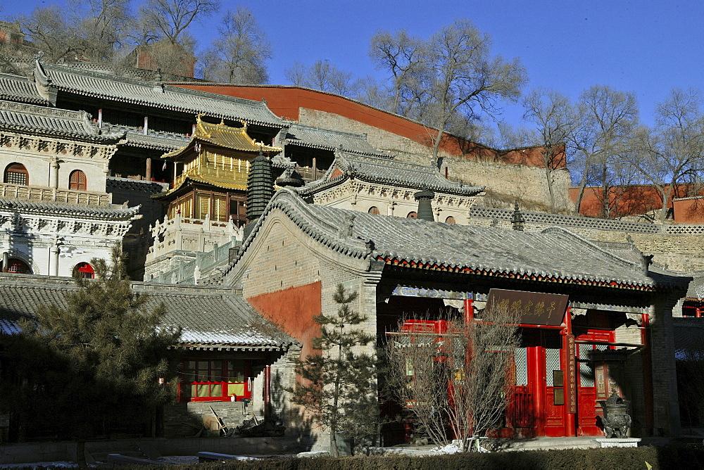 Xian Tong Temple, Copper Palace, Golden Hall, Wutai Shan, Five Terrace Mountain, Buddhist Centre, town of Taihuai, Shanxi province, China, Asia