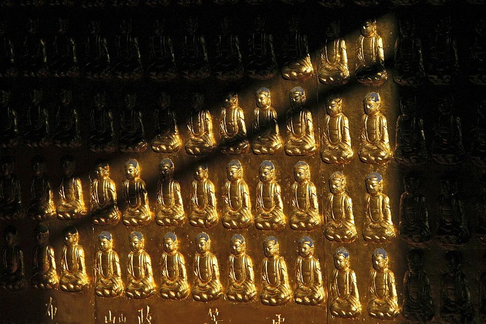 Golden Hall, made of bronze, many Buddhas, Xian Tong Temple, Monastery, Wutai Shan, Five Terrace Mountain, Buddhist Centre, town of Taihuai, Shanxi province, China, Asia