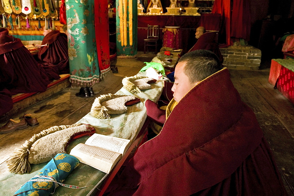 Prayer ceremony in Pusa Ding monastery, yellow cap monks, Wutai Shan, Five Terrace Mountain, Buddhist Centre, town of Taihuai, Shanxi province, China - 1113-71780