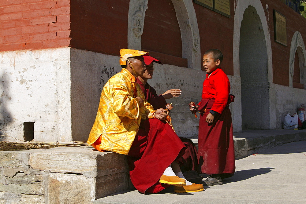 child monk, prayer ceremony, buddhist monks, court yard, during birthday of Wenshu, Xiantong Monastery, Wutai Shan, Five Terrace Mountain, Buddhist Centre, town of Taihuai, Shanxi province, China, Asia