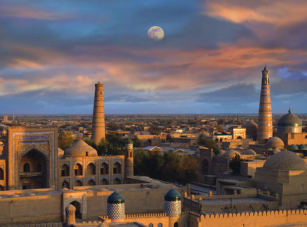 Khiva, Chiwa at sunset, Chiwa, Uzbekistan, Asia