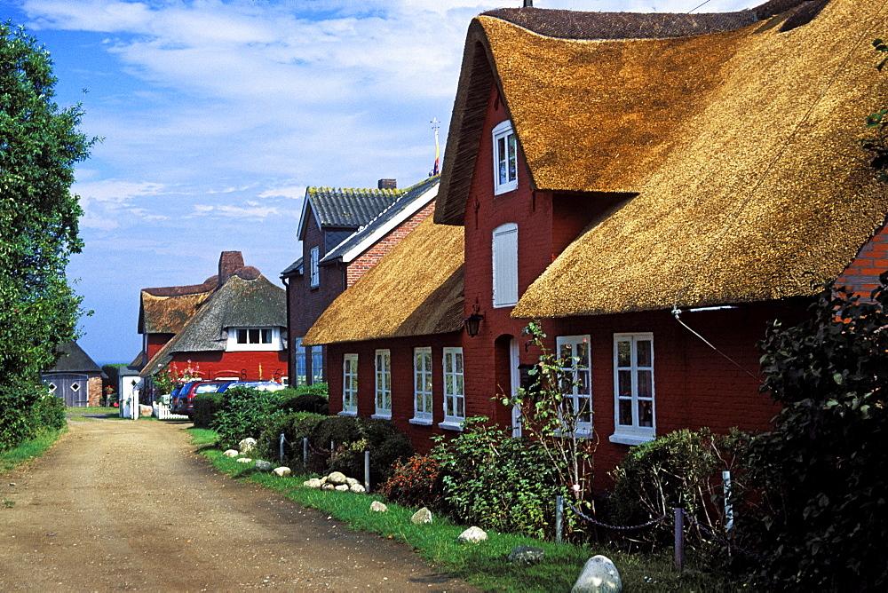 frisian houses, Nebel, Amrum Island, Northfriesian Islands, Schleswig-Holstein, Germany
