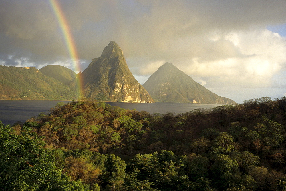 Rainbow & The Pitons, View from Anse Chastanet Resort, near Soufriere, St. Lucia, Carribean