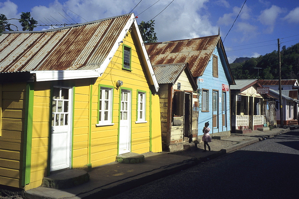 Typical Colorful Houses, Anse La Reye, St. Lucia, Carribean