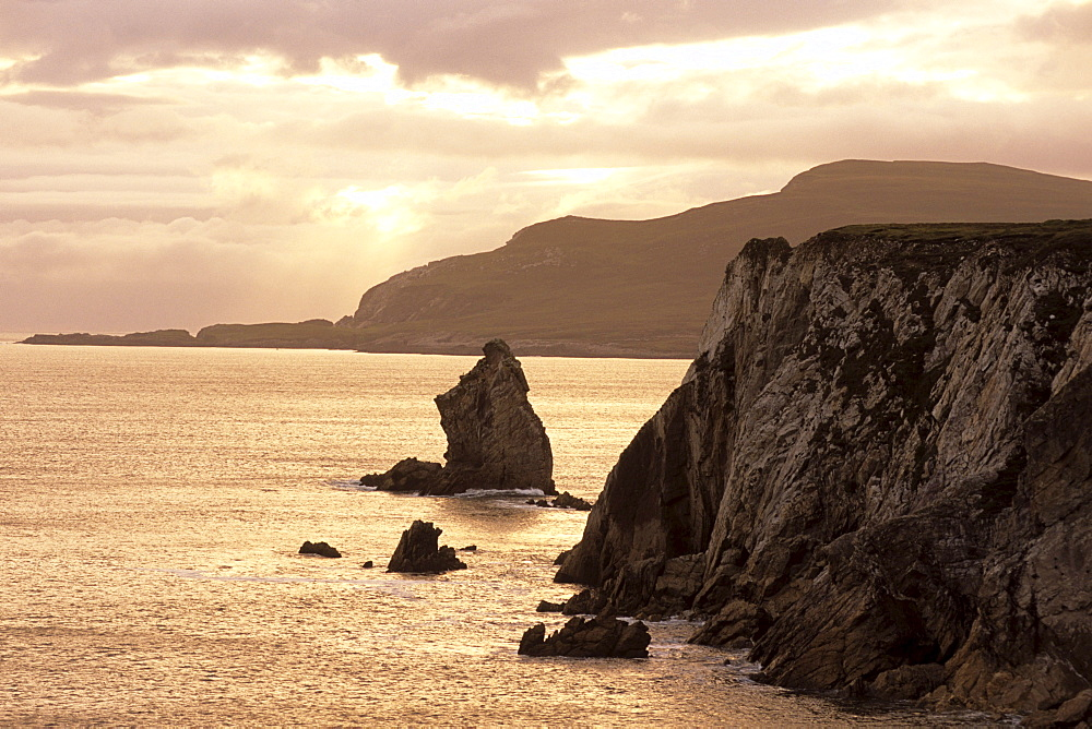 Achill Island Coastline at Sunset, Near Dooagh, Achill Island, County Mayo, Ireland