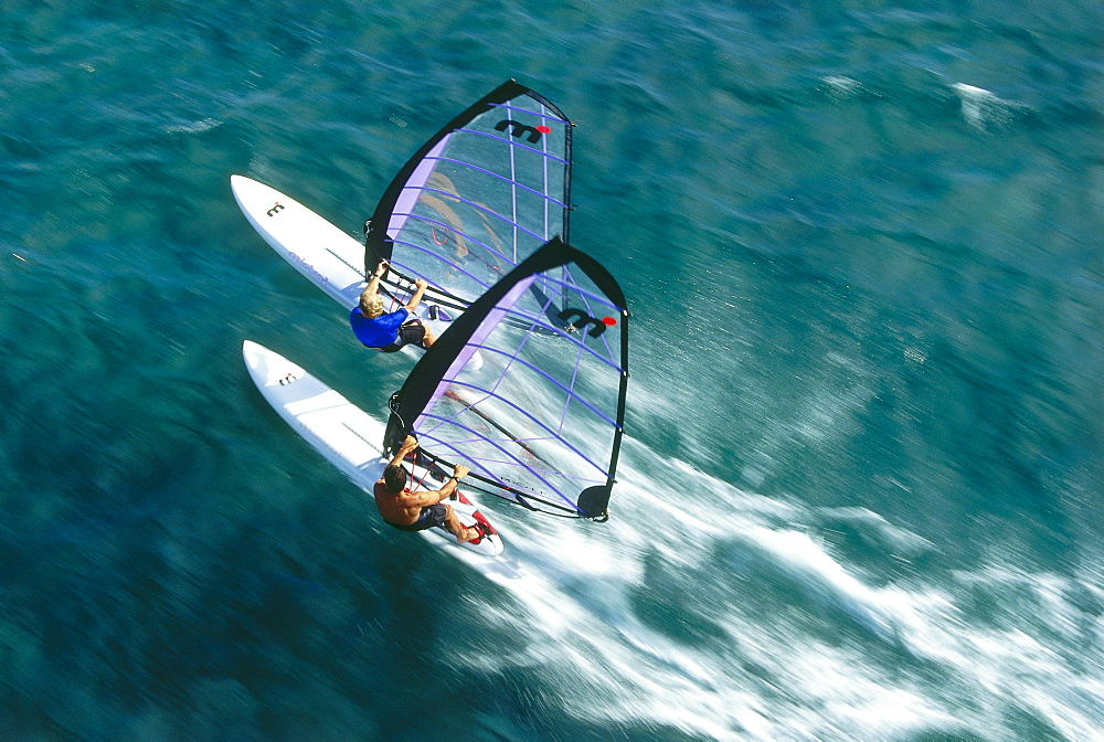 Aerial shot of two windsurfers, Windsurfing, Sport