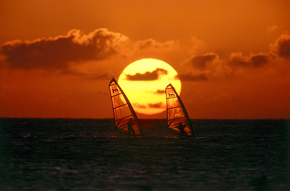 Two Windsurfers windsurfing at sunset, Sport