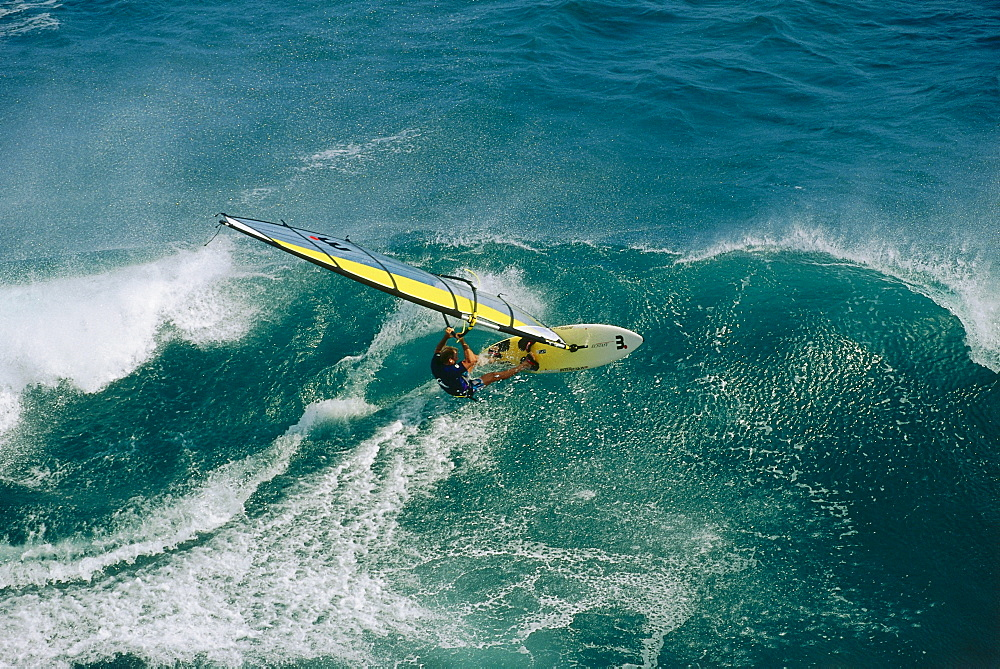 Man windsurfing near Hawaii, USA, America