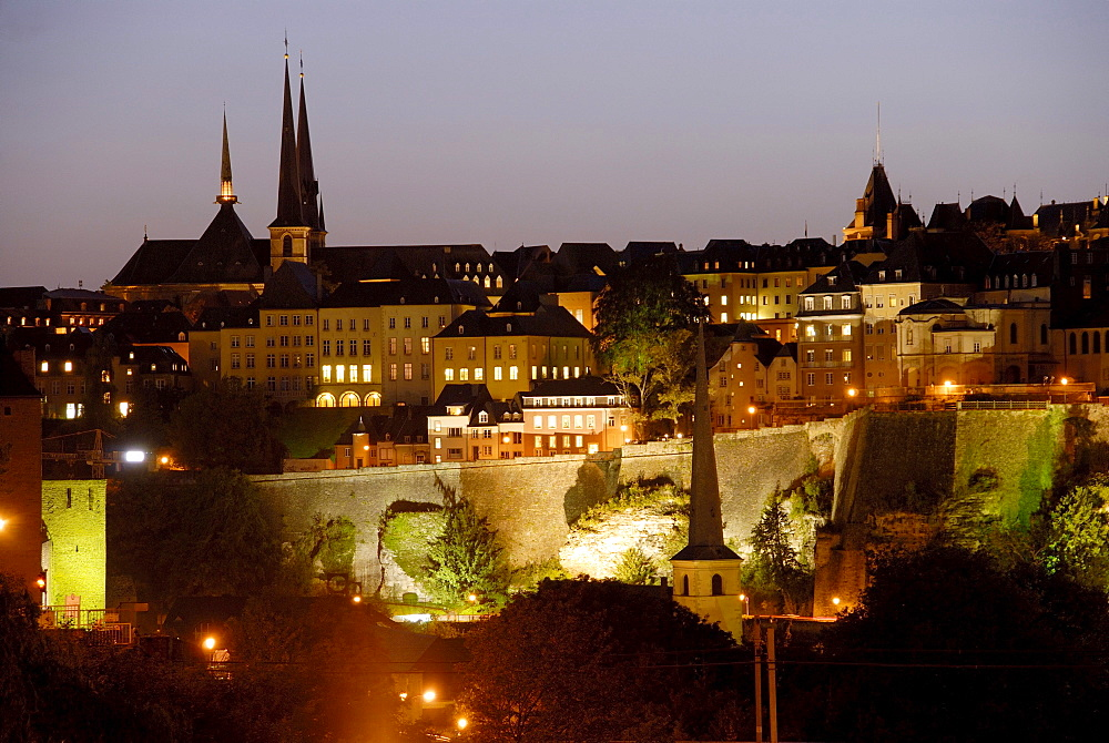 View of the old town at night, Luxembourg city, Luxembourg, Europe
