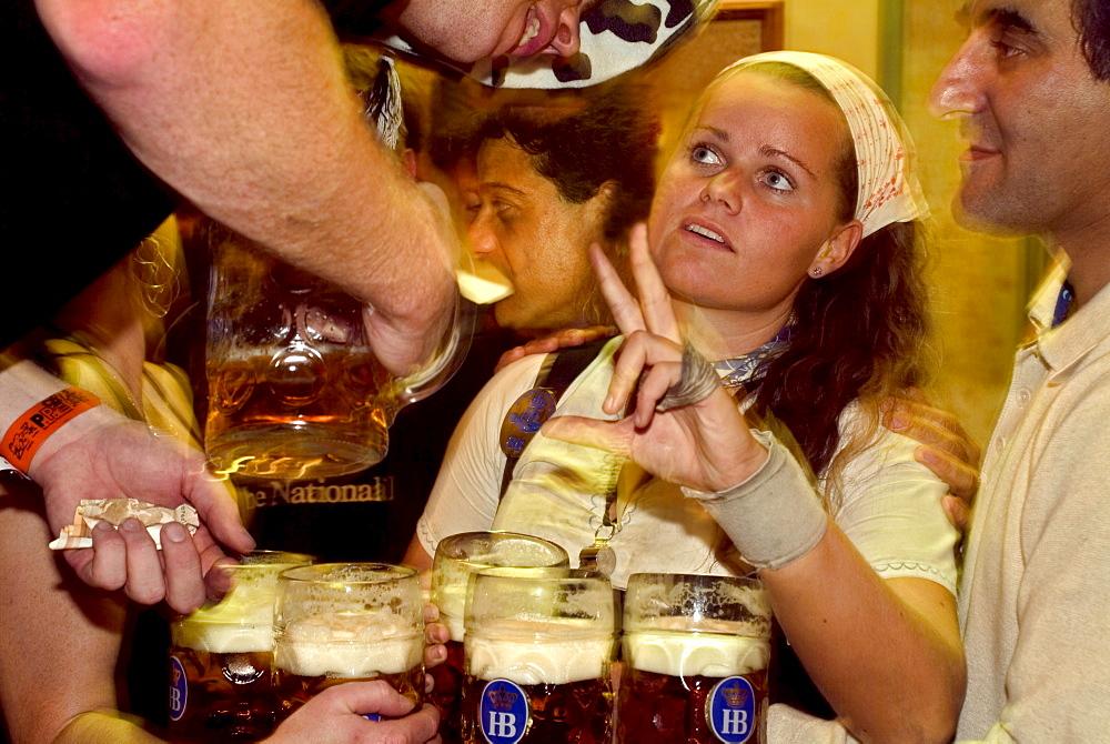 Barabara Stadlhuber, most photographed waitress at Oktoberfest Munich, Bavaria, Germany, Beer Tent