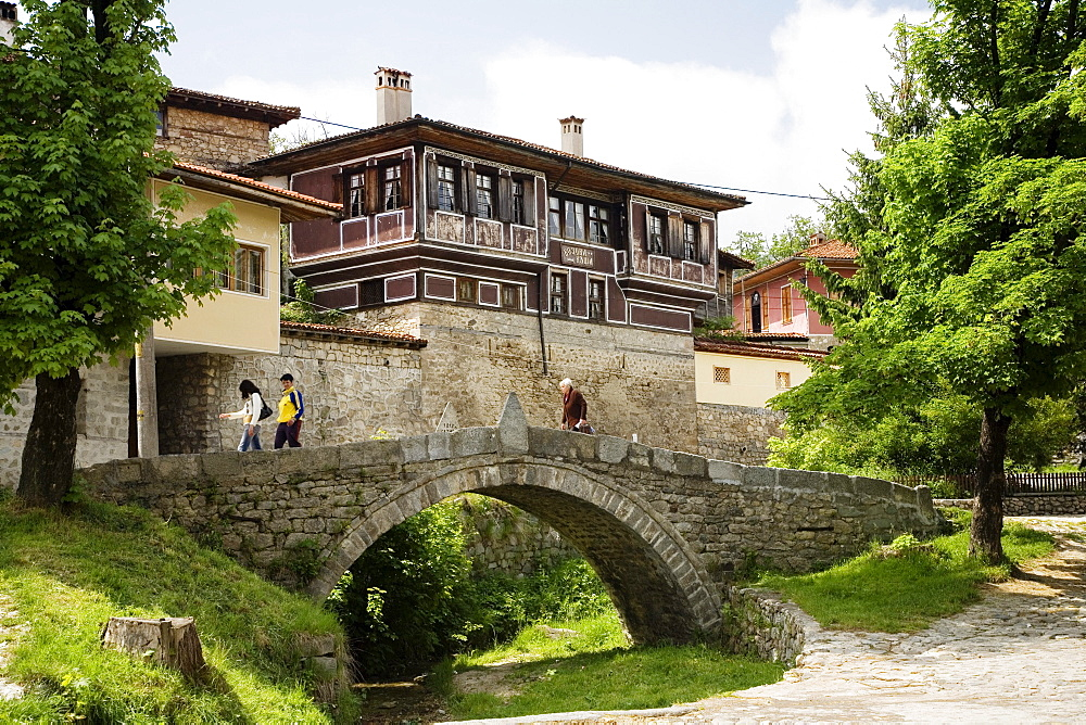 Houses and bridge at museum town Koprivstiza, Bulgaria, Europe