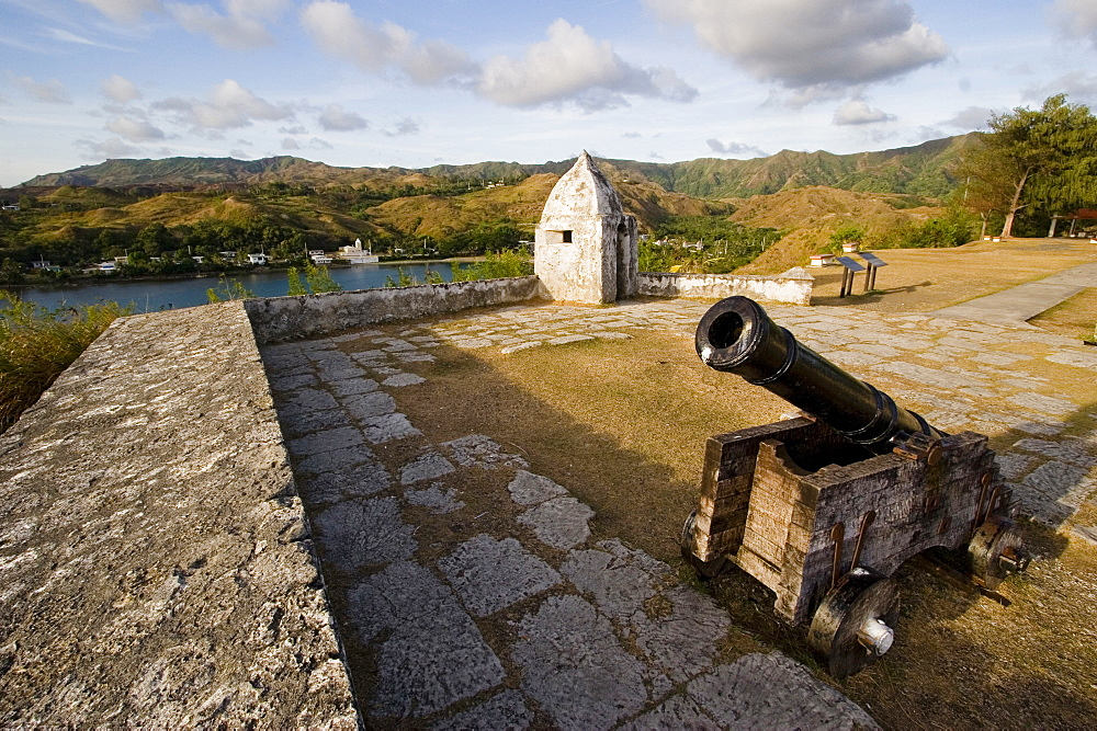 Cannon on the military walls at Fortress Nuestra Senora de la Soledad, Umatac, Guam, Micronesia, Oceania