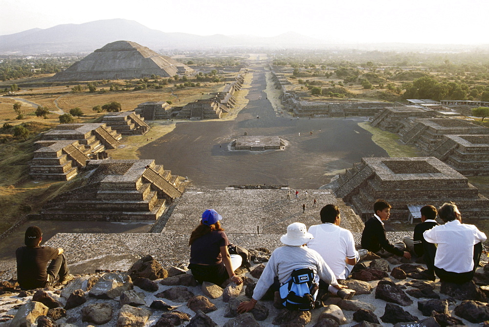 View from the pyramid of the moon, Teotihuacan near Mexico City, Mexico