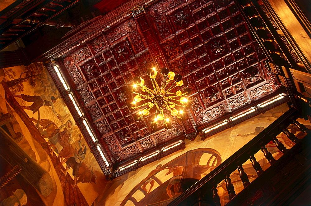 Ornamented wooden ceiling, Santa Cruz de La Palma, Canary Islands, Spain