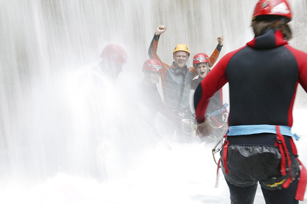 A group of people canyoning, Hachleschlucht, Haiming, Tyrol, Austria