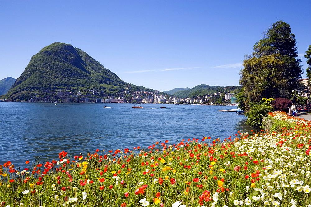 View from Parco Civico over Lake Lugano, Lugano, Ticino, Switzerland