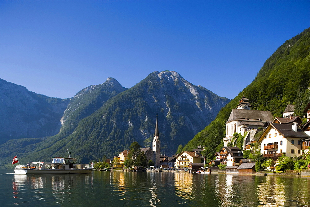 Panoramic view over Hallstatt with Protestant Christ church and catholic parish church, Lake Hallstatt, Salzkammergut, Upper Austria, Austria